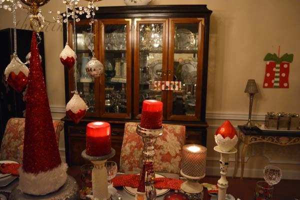 candle lit Santa table