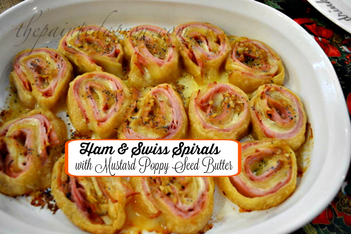 ham & swiss swirls with mustar poppy seed butter