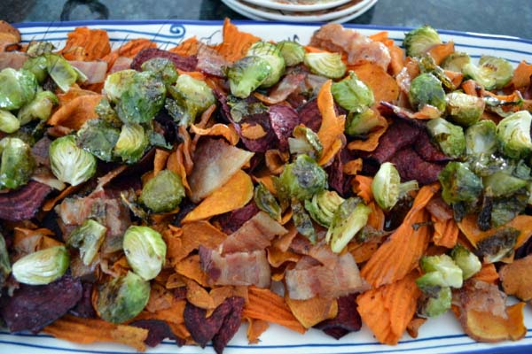 nachos with brussels, bacon and bleu