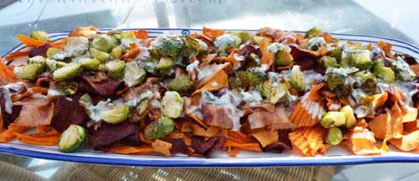 sweet potato chip nachos with bleu, bacon, and brussels