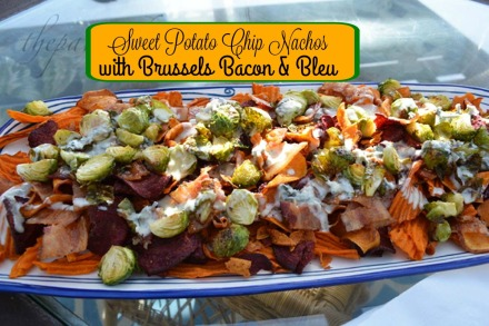 sweet potato chip nachos with brussels bacon and blue cheese