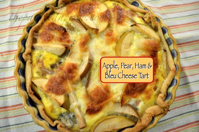 Apple, pear, ham bleu cheese tart