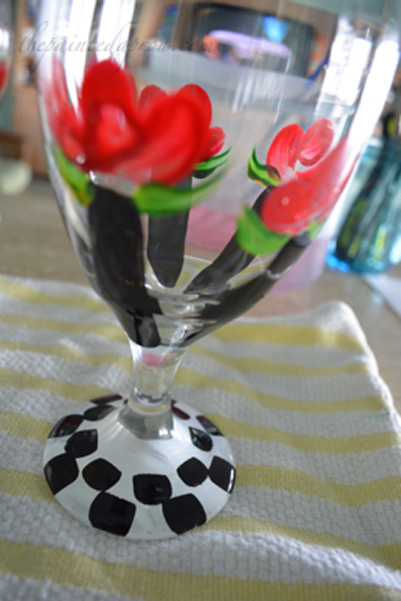 black & white rose glass