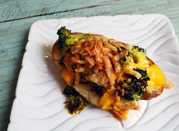 crispy onion topped broccoli and cheese potato
