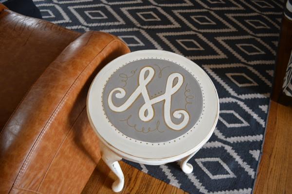 monogram side table