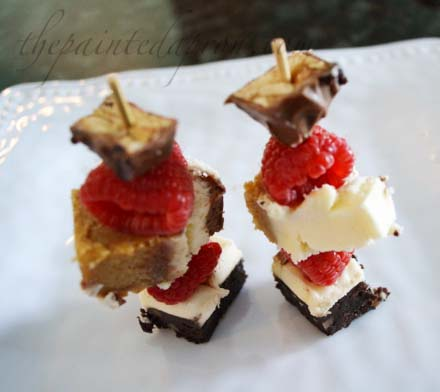 raspberry brownie cheescake snickers kebabs