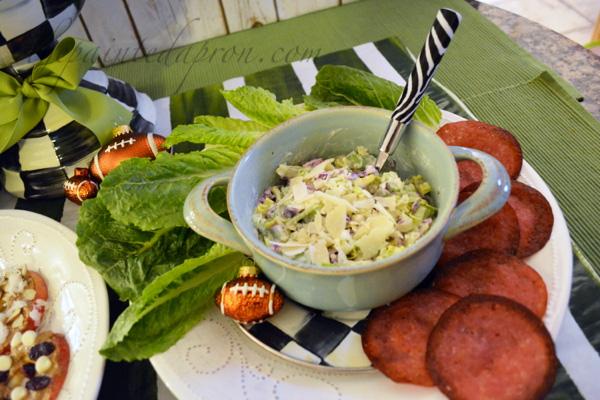 salad dip with salami chips