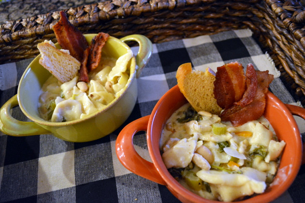 sausage tortellini soup with bacon croutons
