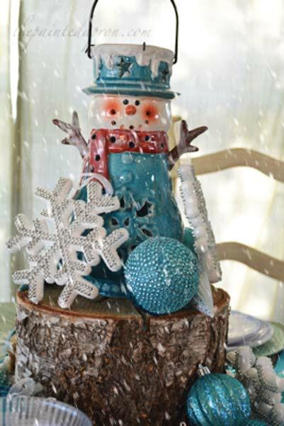 snowman lantern centerpiece