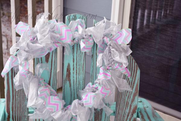aqua and pink heart wreath