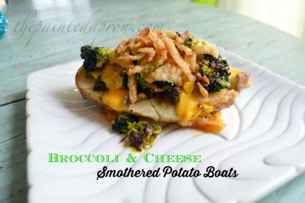 broccoli topped smashed potato