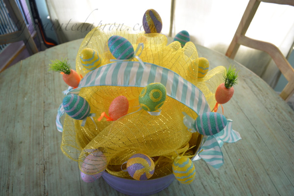 deco mesh Easter basket