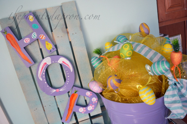 hop sign and Easter basket
