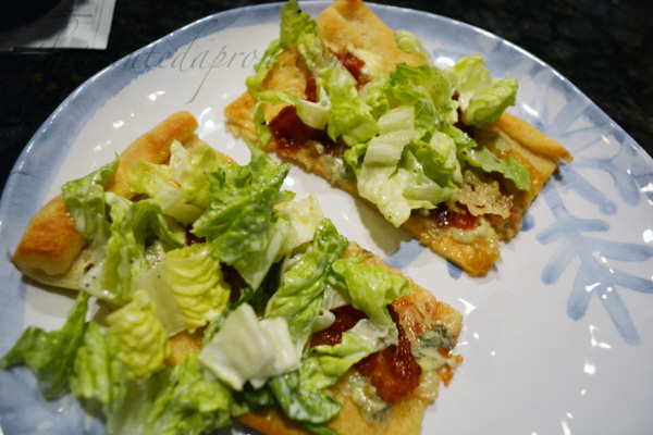 flatbread with salad topping