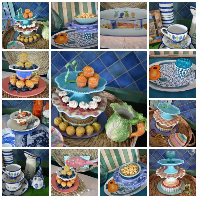 stacked dishware server collage