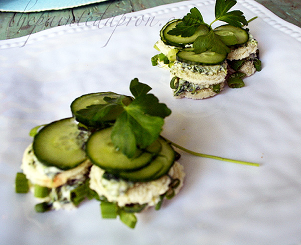 tea sandwiches with chive cucumber garnish