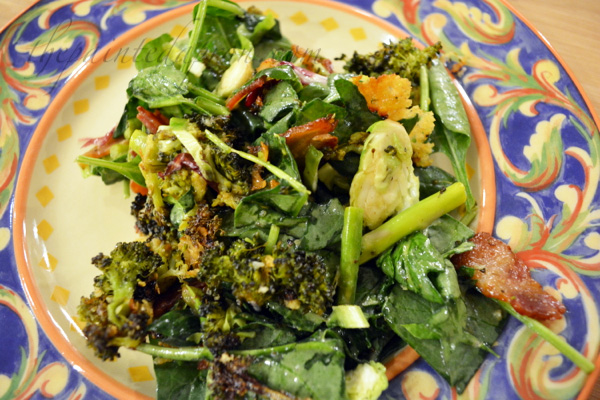 spinach, kale, broccoli, bacon salad
