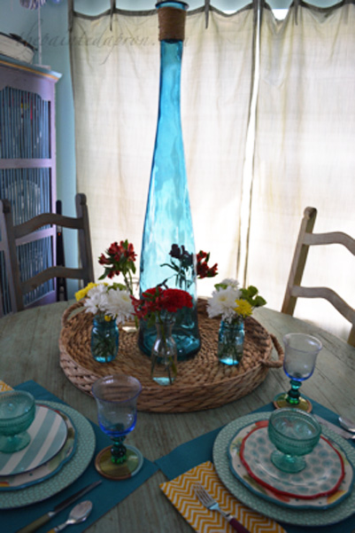 aqua glass centerpiece