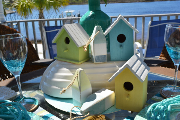 beach bird house centerpiece
