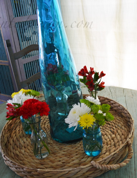 glass bottle centerpiece
