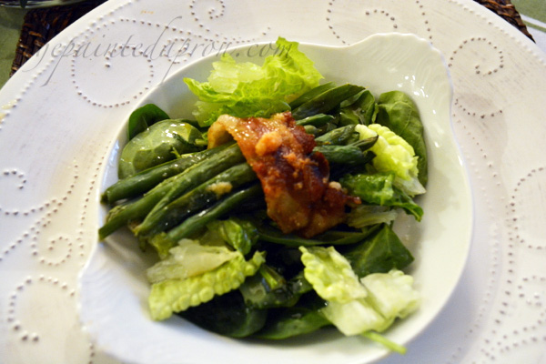 green bean bundle topped salad