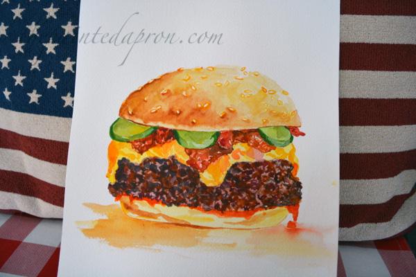 cheeseburger watercolor