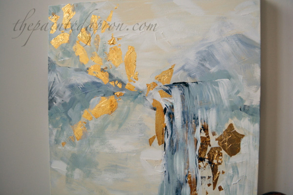 Falling Gold abstract with gold leaf
