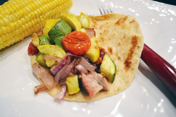 flour tortilla pork taco