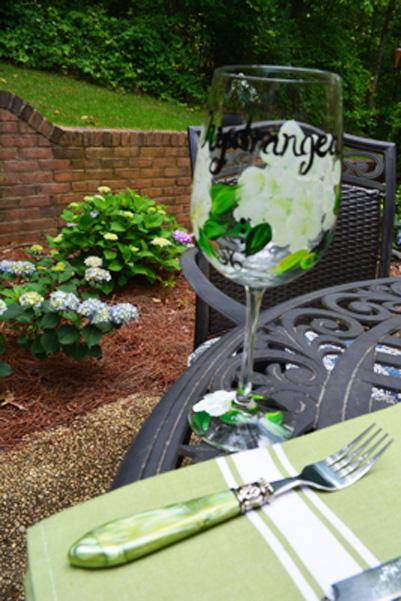hydrangea glass