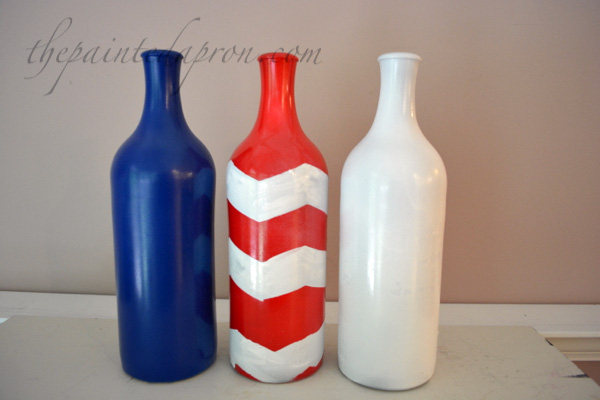red white and blue bottles