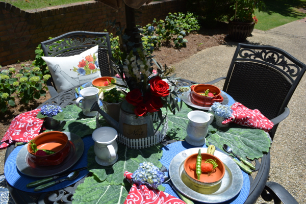 watering can garden table
