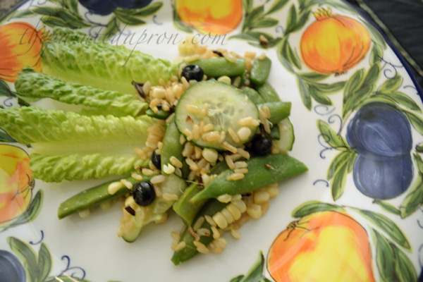 wild rice salad with peas, corn blueberries and cucumber