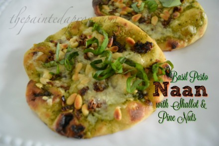 Basil Pesto Naan with shallot & pine nuts