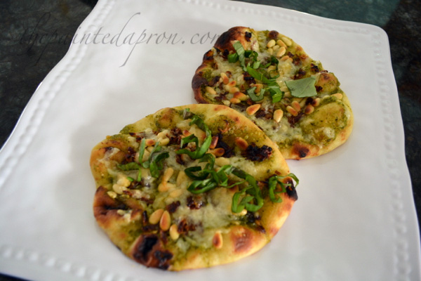caramelized shallot and basil pesto naan