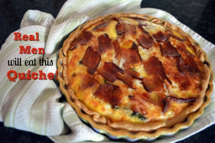 ham quiche with corn, asparagus and bacon