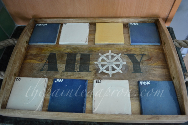 tiles on tray