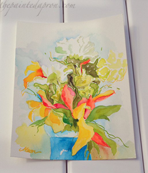 watercolor flower vase
