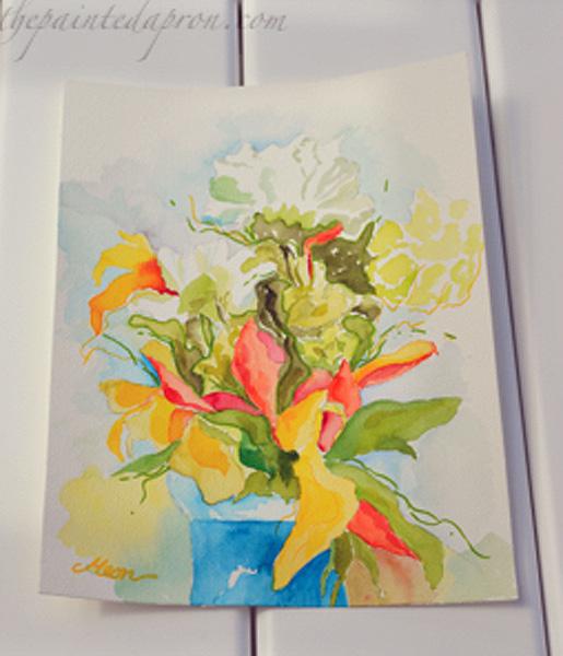 watercolor flower vase