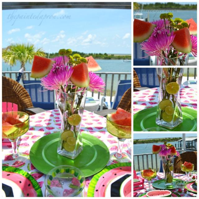 watermelon floral centerpiece collage
