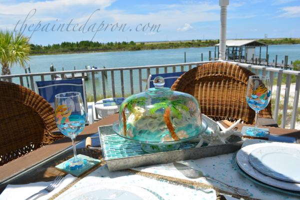beach cake dome & mermaid glasses