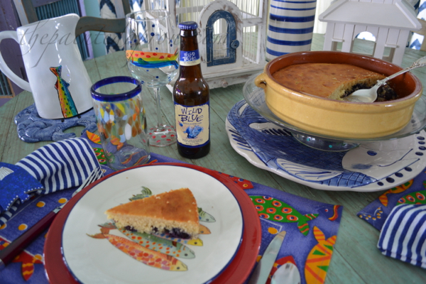 blueberry cornbread table
