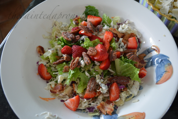 coleslaw salad with strawberries, bacon & pecans
