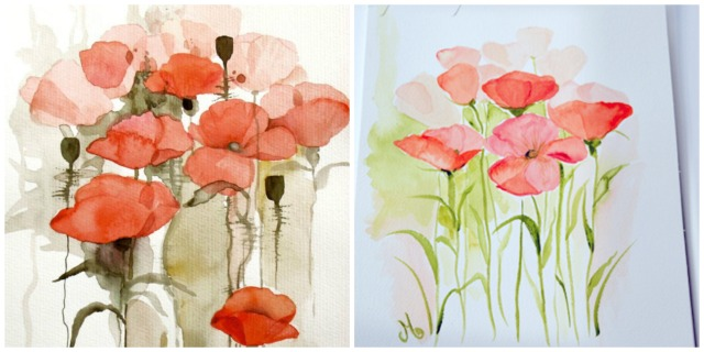 poppy watercolors