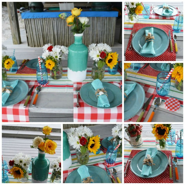 sunny seaside picnic collage
