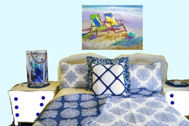 beach house guest room with chair painting