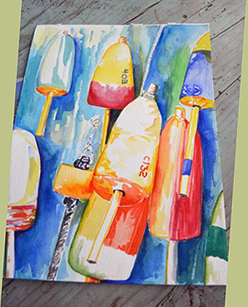 lobster buoys watercolor