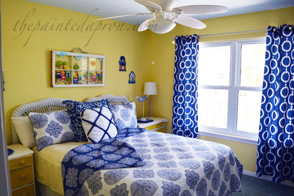 navy & yellow guest room