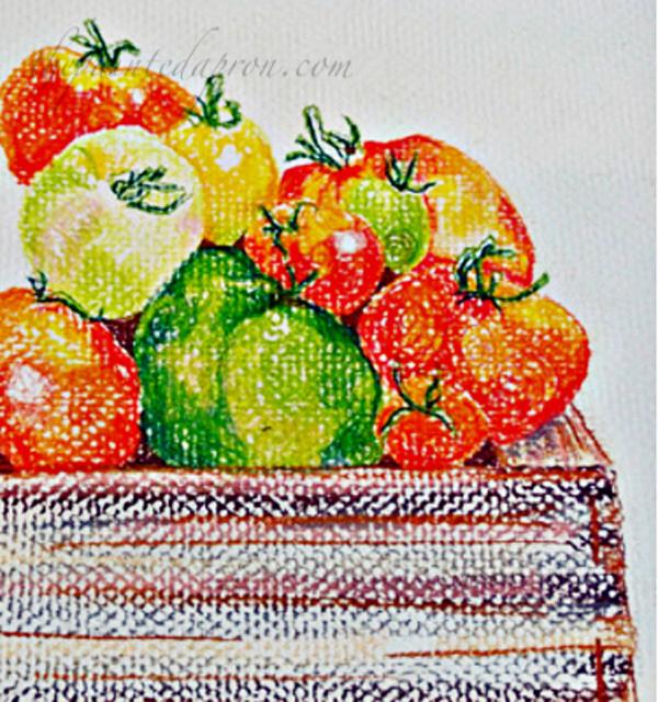 pastel pencil tomato crate
