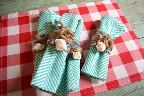 shell & burlap napkin rings