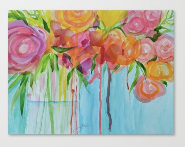 running roses canvas print